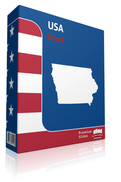 Iowa County Map Template for PowerPoint