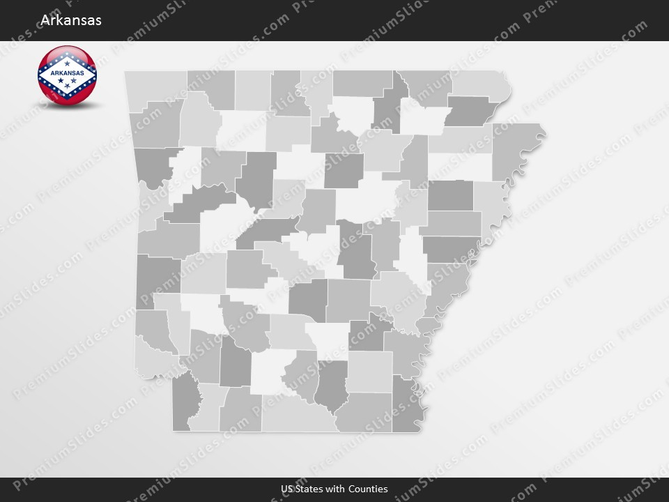 Kentucky County Map Editable%0A Arkansas County Map Template for PowerPoint  Slides included in this  package