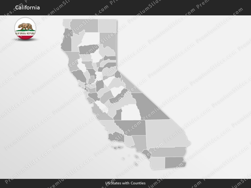 Kentucky County Map Editable%0A California County Map Template for PowerPoint  Slides included in this  package