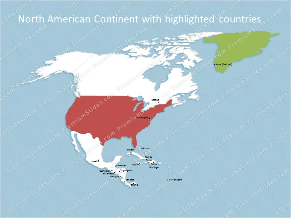 North america continent map editable map of north america powerpoint map north america slides included in this package gumiabroncs Image collections