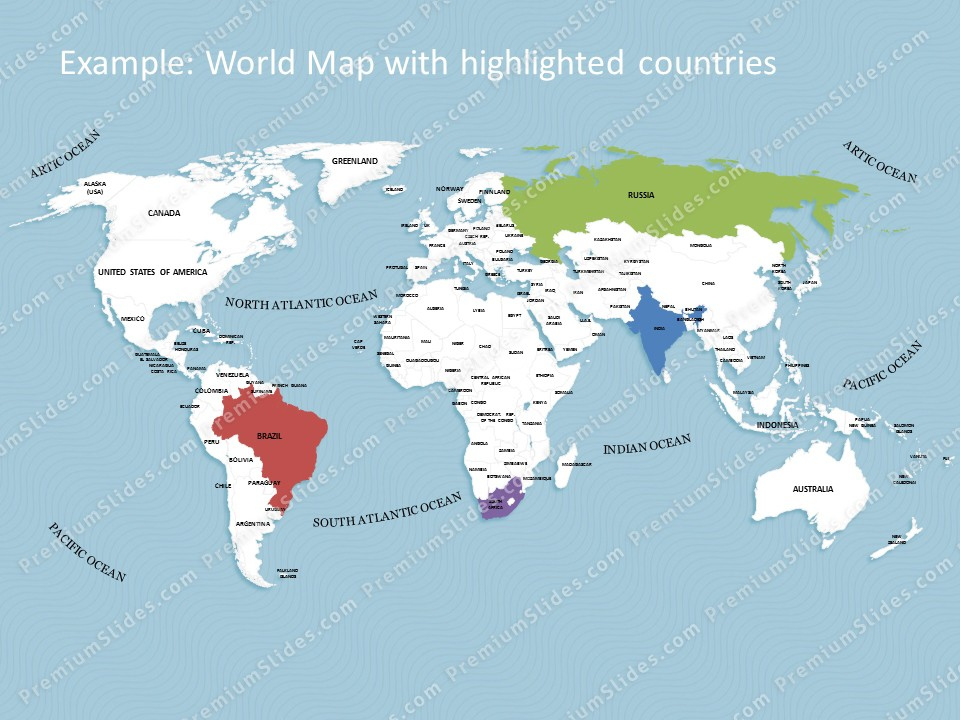 World map template for powerpoint premiumslides world map template slides included in this package gumiabroncs Image collections