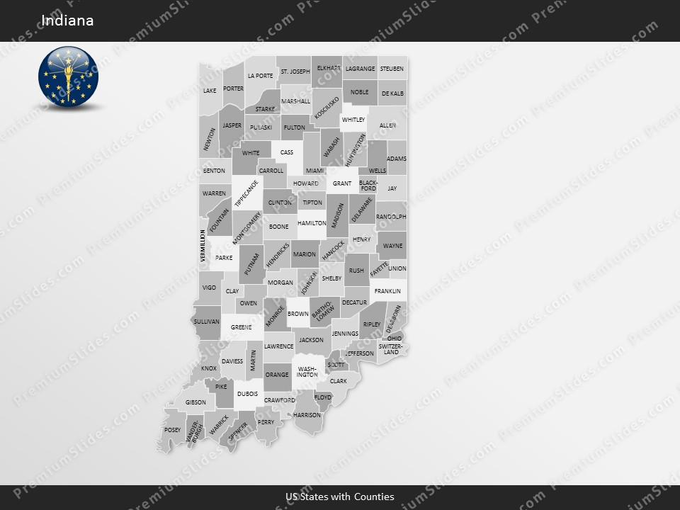 us state indiana county map template for microsoft