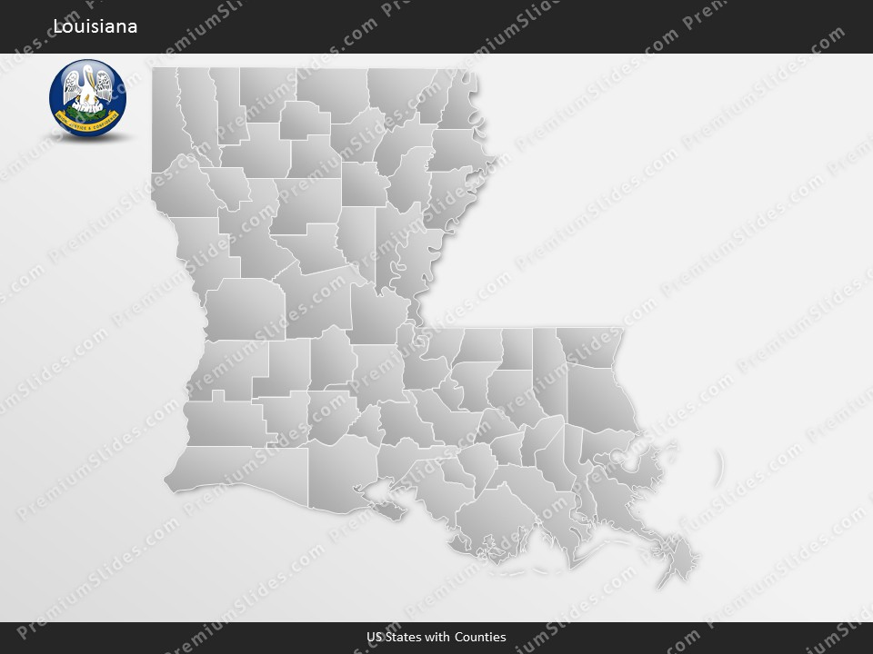 us state louisiana county map template for microsoft
