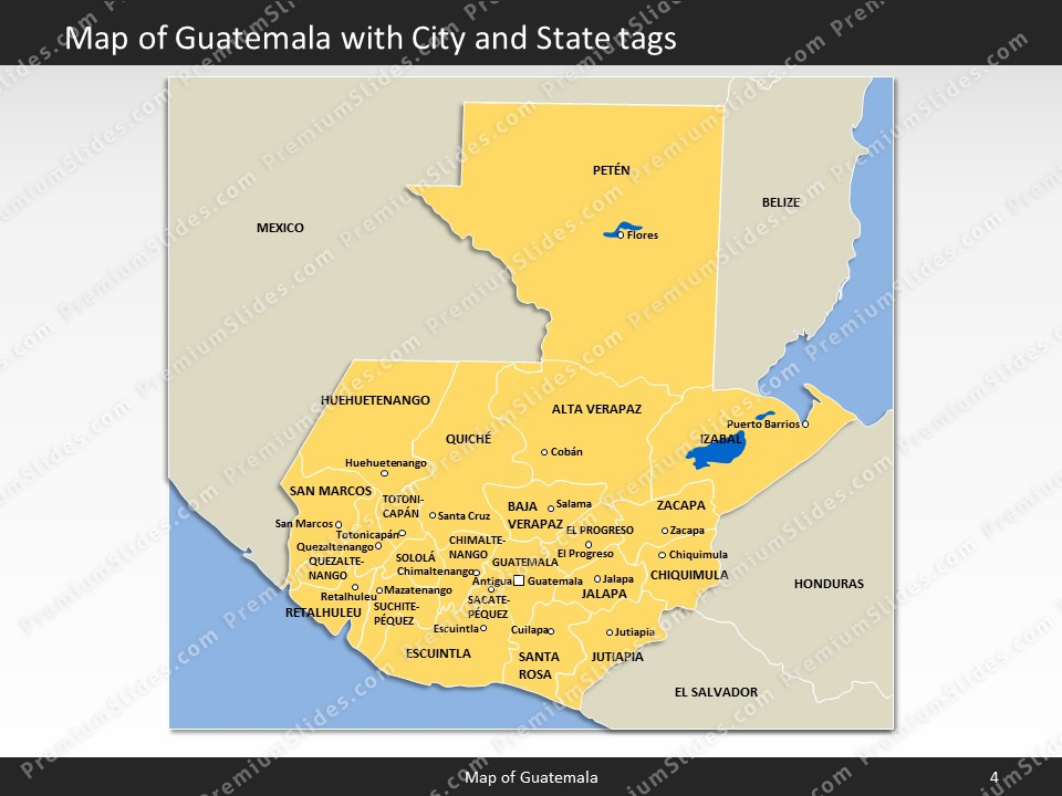 Guatemala Map - Editable Map of Guatemala for PowerPoint ▻ Download ...