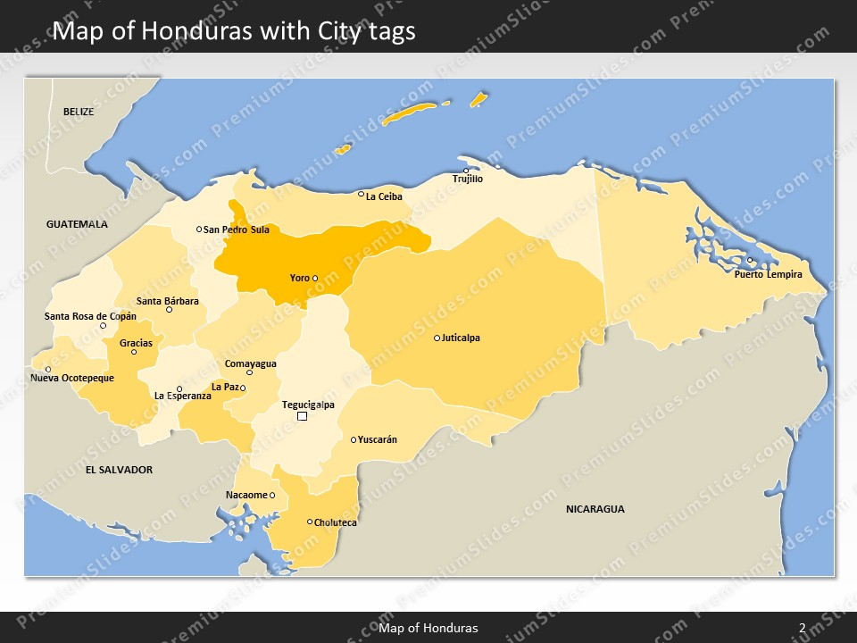 Honduras map editable map of honduras for powerpoint download powerpoint map honduras slides included in this package gumiabroncs Gallery