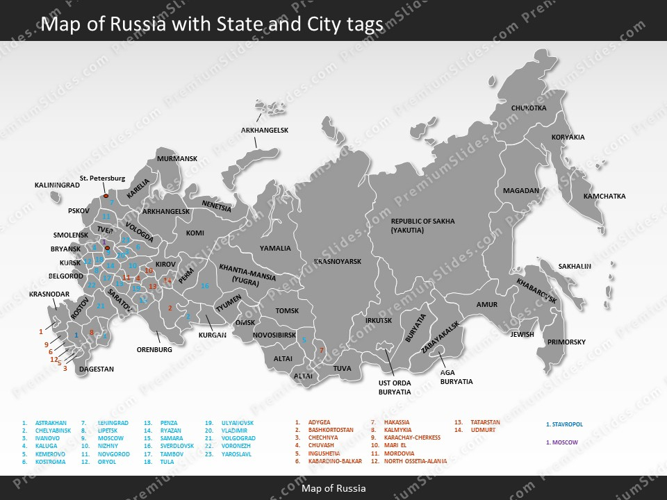 russia map editable map of russia for powerpoint