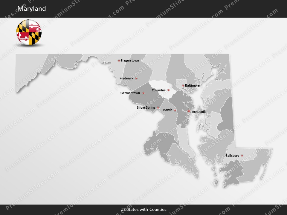 Maryland County Map Template for PowerPoint Slides