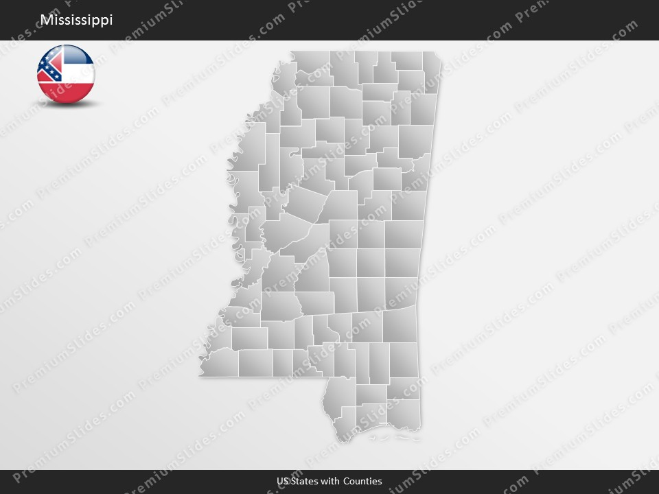 Mississippi County Map Template for PowerPoint Slides