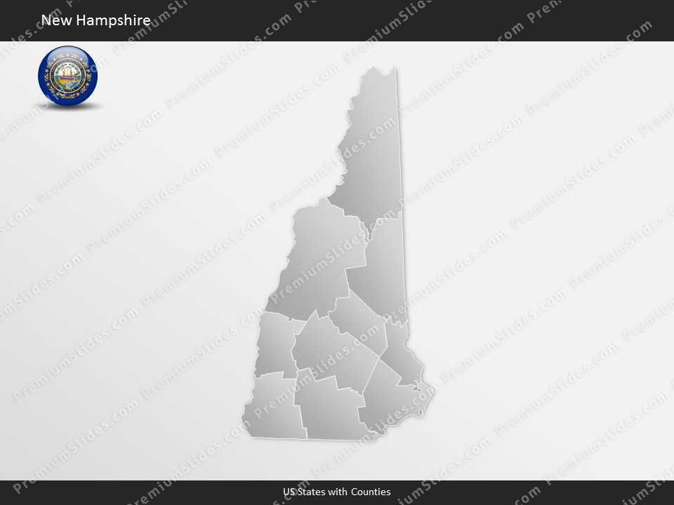 Kentucky County Map Editable%0A New Hampshire County Map Template for PowerPoint  Slides included in this  package