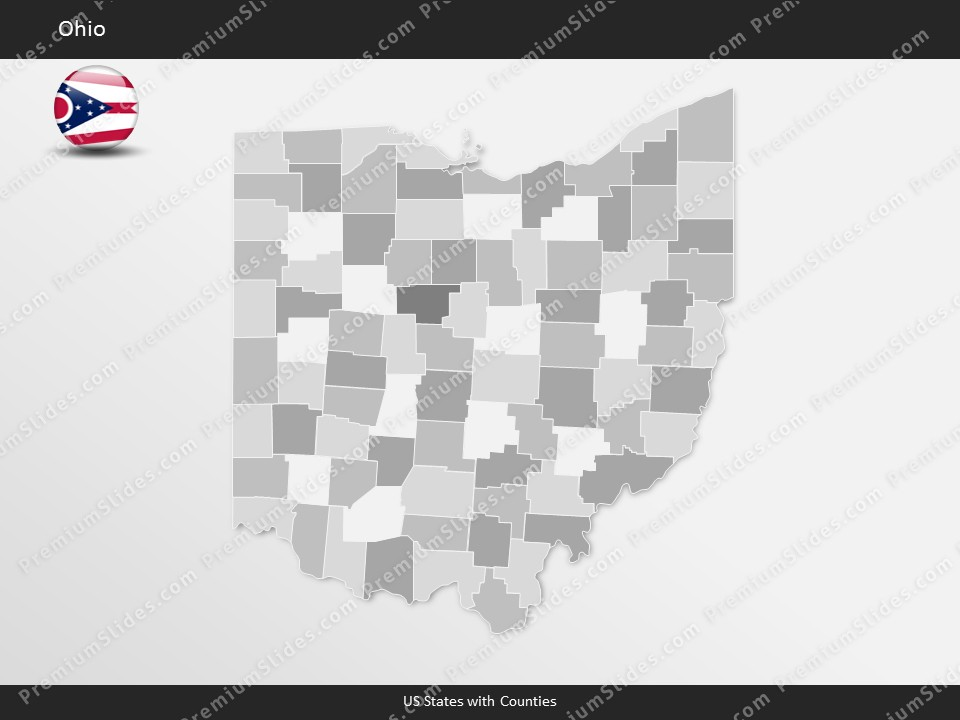 Ohio County Map Template for PowerPoint Slides