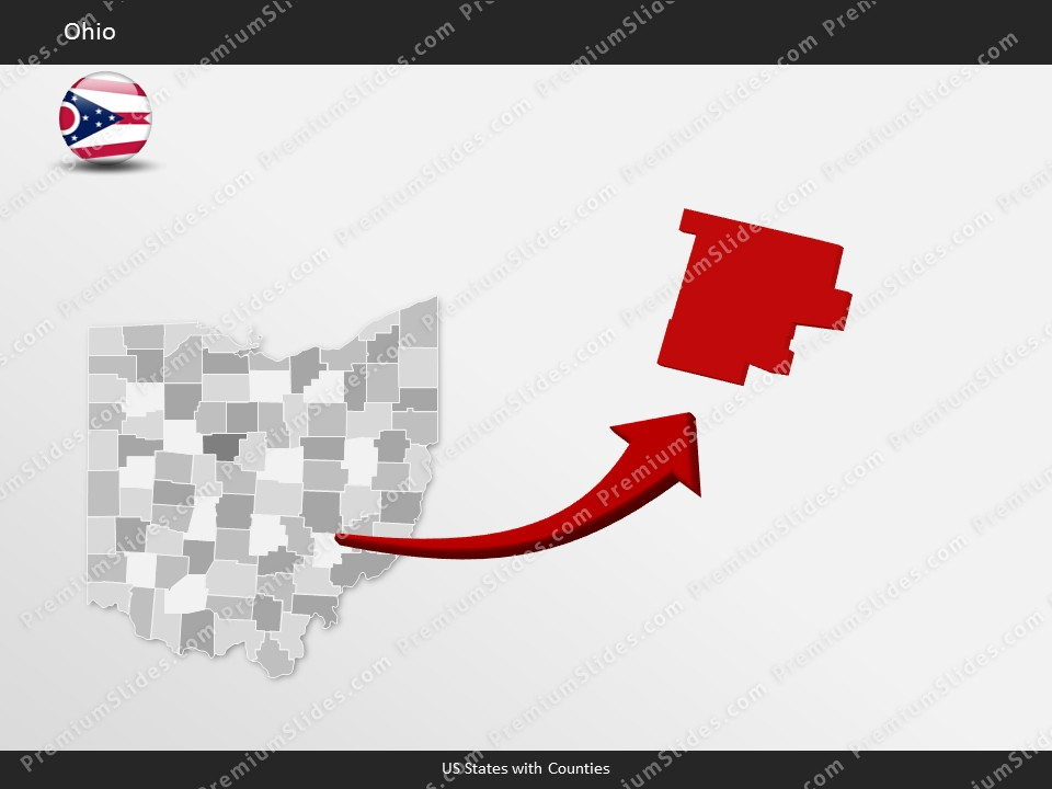 Kentucky County Map Editable%0A Ohio County Map Template for PowerPoint  Slides included in this package