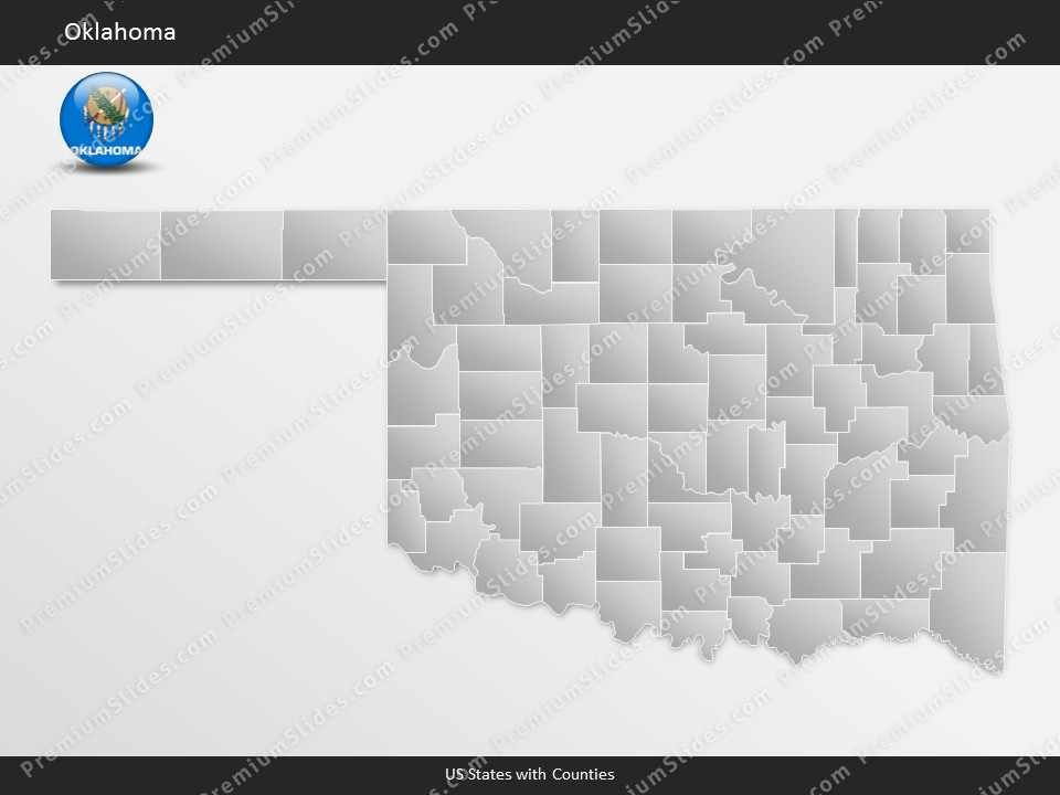Kentucky County Map Editable%0A Oklahoma County Map Template for PowerPoint  Slides included in this  package