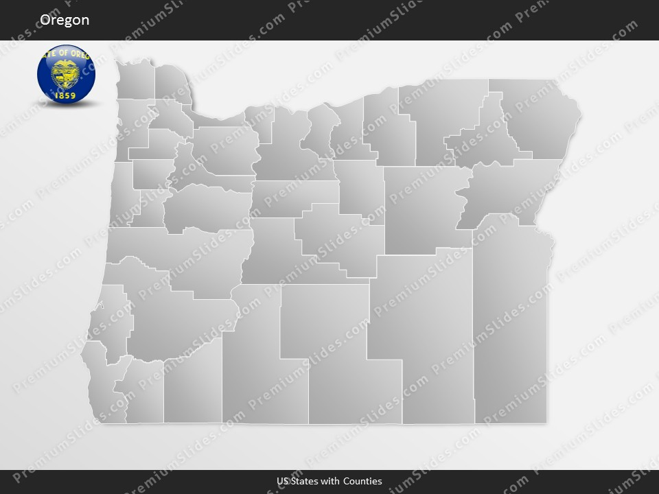 Us state oregon county map template for microsoft for Oregon state powerpoint template