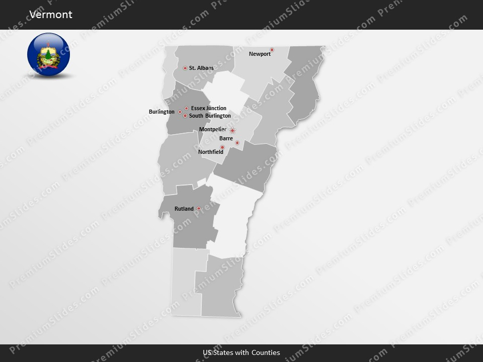 Kentucky County Map Editable%0A Vermont County Map Template for PowerPoint  Slides included in this package