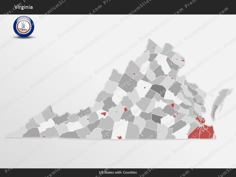 Kentucky County Map Editable%0A Virginia County Map Template for PowerPoint  Slides included in this  package