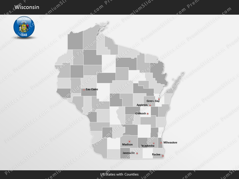 Wisconsin County Map Template for PowerPoint Slides