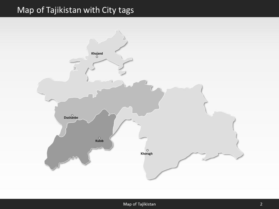 tajikistan map editable map of tajikistan for powerpoint