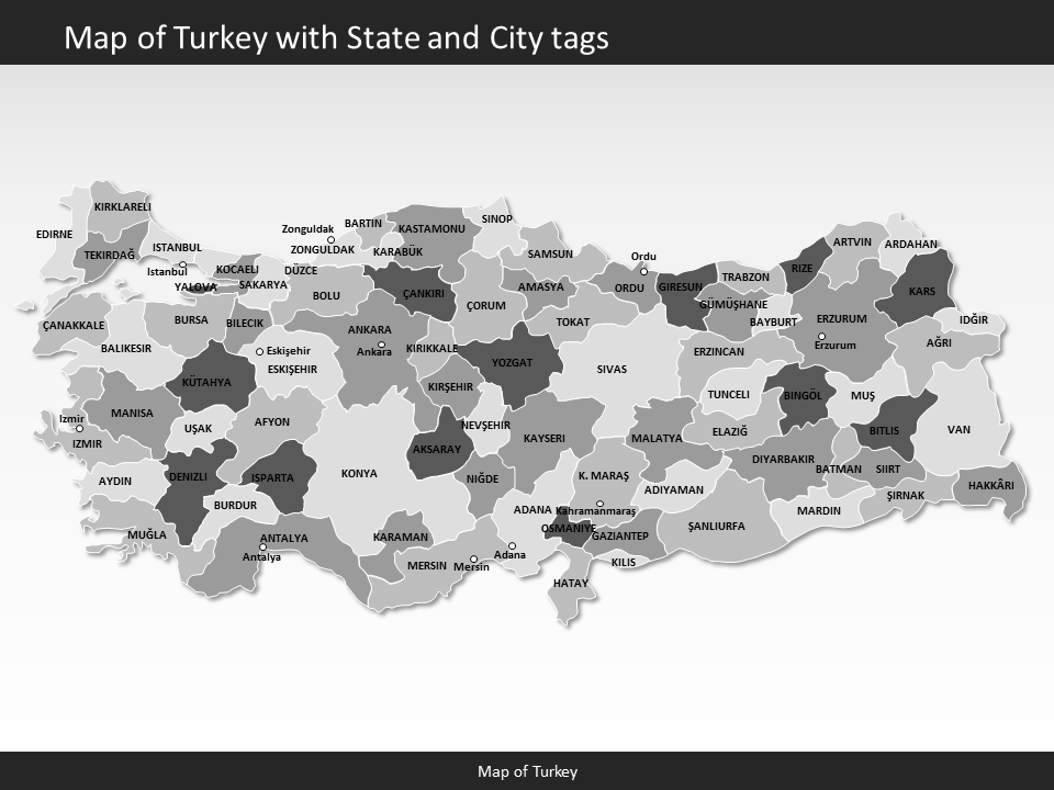 turkey map editable map of turkey for powerpoint