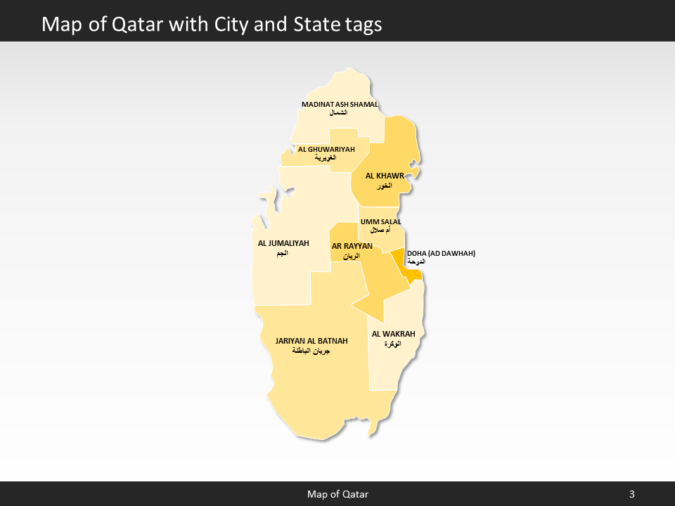 Qatar Map Editable Map of Qatar for PowerPoint Download