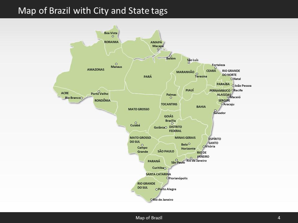 brazil map editable map of brazil for powerpoint