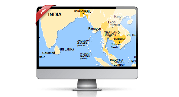 Asia Map Template for PowerPoint by PremiumSlides