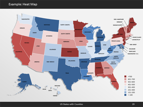 PowerPoint US Map Kit - Us Map Templates with States, Capitals ...